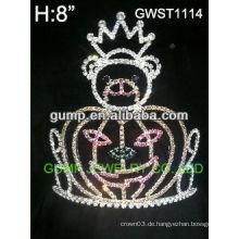 Feiertagskürbis-Silberüberzug kundenspezifische Rhinestone-Krone-Tiara -GWST1114
