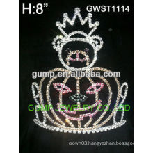 Holiday pumpkin silver plating custom rhinestone crown tiara -GWST1114