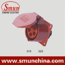 Vermelho do soquete 16A 32A do painel para a caixa de distribuição 5pin 220-415VDC