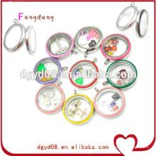 12 tipos de color de moda de acero inoxidable colgantes flotantes locket / medallón colgante