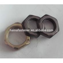 DIN 934 Aço Carbono Hex Thin Nut Preto Oixde, Placa de zinco