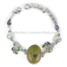 El último diseño Stichtite y multi piedras preciosas 925 pulsera de plata de ley Joyería