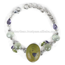 Latest Design Stichtite And Multi Gemstone 925 Sterling Silver Bracelet Jewelry