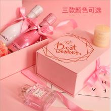 Embalaje de botellas Personalizar Caja de regalo magnética rosa