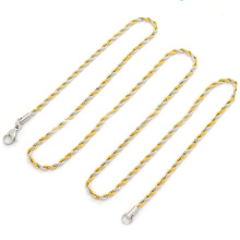 wholesale stainless steel two tone necklace, women female fashion gold thin chains necklaces jeweled