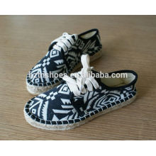 Popular thick sole canvas shoe espadrille shoe in china lace up