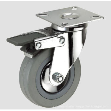 Gray Rubber Flat Bottom Wave Tube Industry Caster with Brake