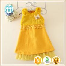 Crianças amarelas vestido 2015 inverno novo estilo meninas sem mangas meninas inverno vestido de lã
