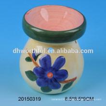 Home decoração queimador de óleo de cerâmica com figura de flor