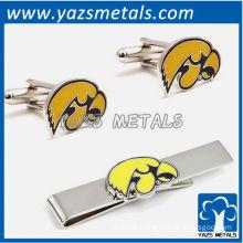 University of Iowa Hawkeyes tie bars and cufflinks, custom made metal tie clip with design