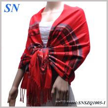 Scarlet Red Mujeres Satin Paisley Shawl Wrap Bufanda