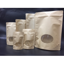 Kraft Paper Zipper Stock Bag With Clear Windows