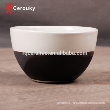 Food grade safety plain white and black round rice bowl