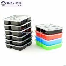 Almacenamiento de alimentos de colores Aprobado por la FDA Plástico bento Contenedores de la caja de almuerzo Microondas Contenedor de 3 compartimentos