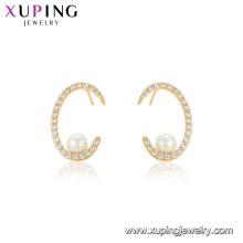 95127 xuping precio de fábrica al por mayor de China estilo personalizado perla pendiente de oro que cubre la joyería de las mujeres