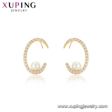 95127 xuping China wholesale factory price personalized style pearl earring vogue gold covering women jewelry