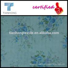 Feder Blume und Blatt gedruckt auf gefärbter Baumwolle Krepp Stil mit Dobby Jacquard Stoff für Kleid
