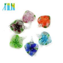 Glasur Luminous Love Heart Lampwork Anhänger mit Mix Farben innere Blume 12pcs / box, MC0104