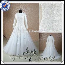 RSW527 Vestido de casamento islâmico com renda de manga longa 2014