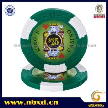 Chip de póker de la arcilla del casino del rey 2-Tone con las etiquetas engomadas de encargo