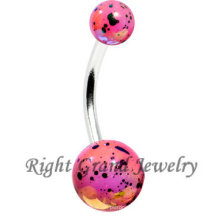 Pink Acrylic Splatter Pearl Coated Sexy Navel Belly Bar