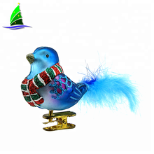 Wholesale Handmade Decorative Figurines Blue Glass Bird Ornaments With Feather Tails and Glitter Wings