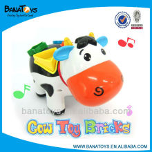 Funny educational toys for kids block cow with music and light