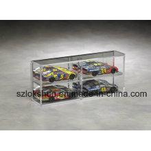 Caixa de exibição de armazenamento de carros de corrida, modelo PMMA mostrando caixa