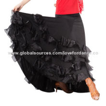 Adult's Ballroom Tango Practice Dance-wear, Long Skirt, Made of Nylon/Spandex