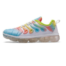 2020 new fashion trendy women's and girls  casual  sport lace up rainbow shoes  with jelly clear sole 43