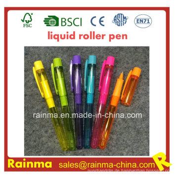 Plastic Liquid Roller Pen mit schöner Druckfarbe