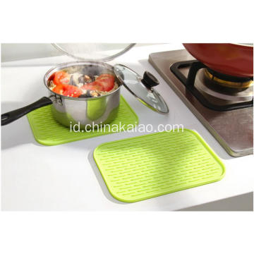 Popular Kitchenware Pink Rectangle Silicone Draining Mats