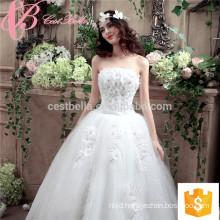 White Off-shoulder Floor- length Appliqued Beaded Ball Gown Wedding Dress