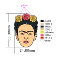 Head Lapel Pin with Glitter Powder Design