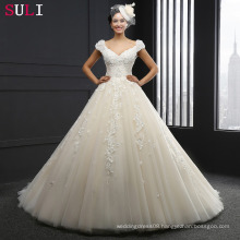 SL-044 Cap sleeve V-neck Backless Appliques Wedding Dress