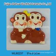 2016 the best selling double monkey design ceramic fridge magnet