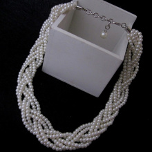 Multi Strands White Pearl Statement Halsband