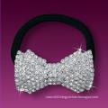 fashion metal silver plated crystal elastic bowknot hair band