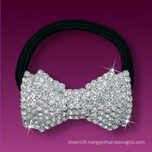 fashion metal silver plated crystal elastic bowknot hair band