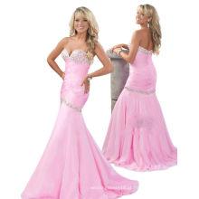 Light Pink Fishtail Sweetheart Vestido de festa Dressant com strass TP12-01