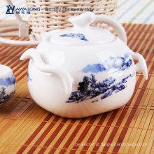 Bom preço mini teapot de cerâmica para venda / azul impresso chinês tradicional bule e copos