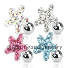 Unique Free Sample Pink Crystal Flower Cartilage Ear Piercing