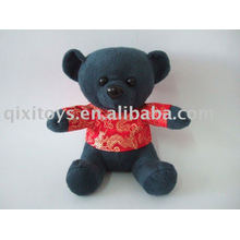 mini urso preto enchido macio com t-shirt