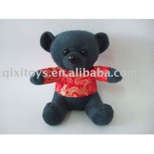мягкая мини черный медведь с футболки