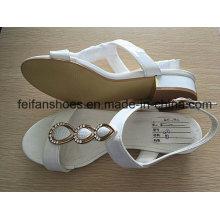 Sandálias das mulheres brancas com PU superior, senhora Casual Shoes com boa qualidade e preços competitivos