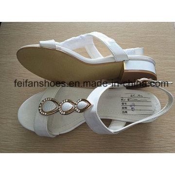 Weiße Frauen Sandalen mit PU-Oberleder, Lady Casual Schuhe mit guter Qualität und wettbewerbsfähigen Preisen
