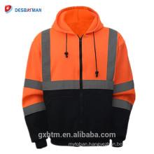 Wholesale ANSI Class 3 High Visibility Zipper Jacket Two Tone Black Bottom Hoodie Safety Sweatshirt Orange