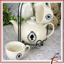 New Wholesale Ceramic Porcelain Coffee Set Tea Pot