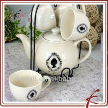 Novo atacado de cerâmica porcelana café conjunto chá pote