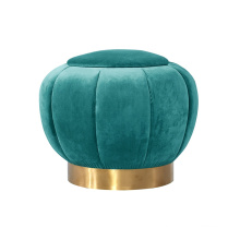 Home bedroom velvet round upholstered sofa ottoman with gold metal base stool for wedding